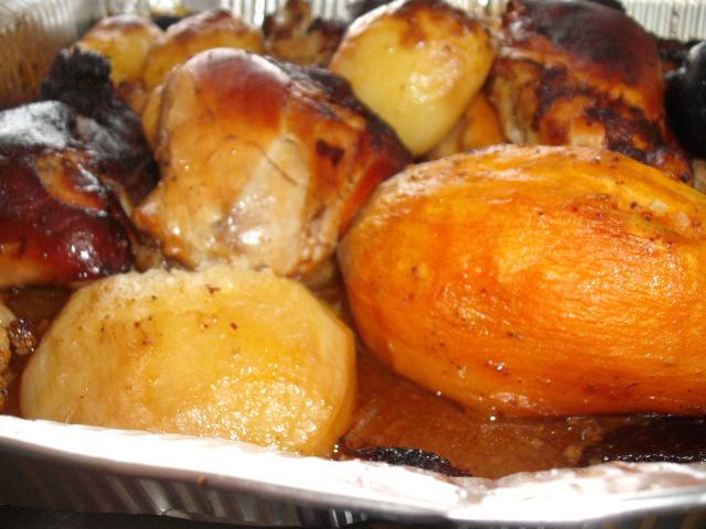 dscf28981 - עוף בטעמים על מצע ירקות ושזיפים