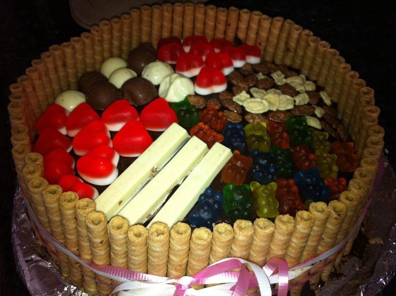 d7a2d795d792d7aa d799d795d79d d794d795d79cd793d7aa - עוגת שוקולד מלאה בקרם וממתקים ליום הולדת