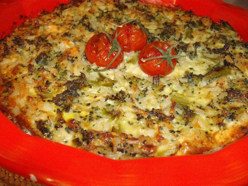 אורז ירקוה - פשטידת אורז עם ירוקים טריים וקפואים